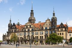 Dresden Castle or Royal Palace in Germany. It is one of the oldest buildings in Dresden. It was the residence of the electors and kings of Saxony. Today, the royalty free stock image