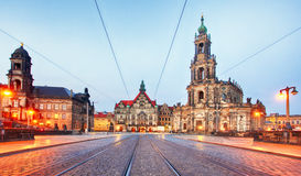 Dresden castle or Royal Palace by night, Saxony, Germany Stock Photo