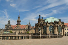Dresden Castle and the Zinger. The Zwinger and a view of the Dresden Castle at Dresden, Saxony, Germany stock image