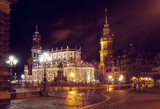 Dresden Cathedral and Castle by night Stock Image