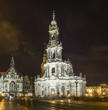 Dresden Cathedral with the Dresden Castle at night Royalty Free Stock Photography