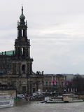 Dresden Cathedral, Highwater in Saxony, Germany Stock Photo