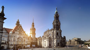 Dresden.Cathedral of the Holy Trinity or Hofkirche and Dresden Castle, Saxony, Germany. Panorama Royalty Free Stock Photos