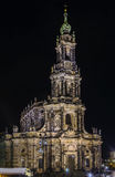 Dresden Cathedral At night, Germany. Cathedral of the Holy Trinity was always the most important Catholic church of the city Dresden, Saxony, Germany. At night Royalty Free Stock Photo