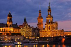 Dresden Catholic Court Church night Royalty Free Stock Photo