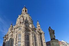 Dresden - Church of Our Lady. Church of our Lady - Frauenkirche (Dresden, Germany) and the statue of Martin Luther Royalty Free Stock Photos
