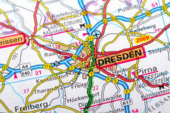 Dresden. The city of  Dresden in detail on the map Stock Image