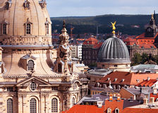 Dresden, closeup on Frauenkirche. Aerial view over Frauenkirche and roofs of old Dresden Stock Photography