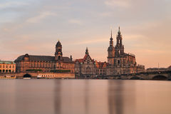 Dresden in de avond Stock Foto