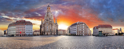 Dresden, Dramatic sunset over Frauenkirche - panorama Royalty Free Stock Image