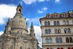 """DRESDEN, DUITSLAND € """"13 AUGUSTUS, 2016: Neumarktvierkant in Frauenk Stock Foto's"""