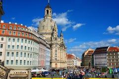 Dresden, Duitsland Frauenkirche in de oude stad van Dresda, hallo Stock Fotografie