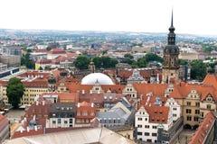 Dresden, Duitsland, mozaïekmuur en Frauenkirche stock afbeeldingen