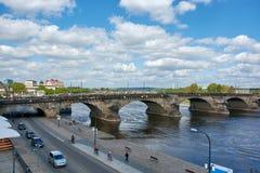 dresden El puente de Augustus el fuerte Imagen de archivo libre de regalías