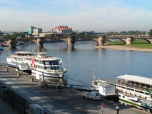 Dresden. Elbe. Boats. Royalty Free Stock Photography