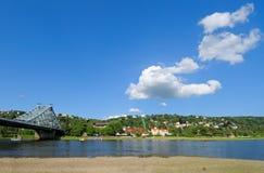 Dresden, Elbe river, Blaues Wunder bridge. River Elbe in Dresden, Germany, with famous bridge Blaues Wunder on the left Stock Images