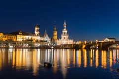 Dresden at the Elbe river, Germany. Dresden, city in Saxony, Germany, at sunset, bloue hour Stock Image