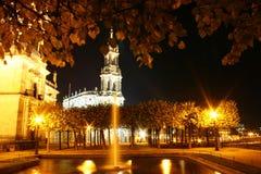 Dresden em a noite fotografia de stock royalty free