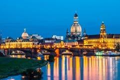 Dresden en la noche Fotos de archivo libres de regalías