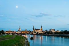 Dresden en la noche Imágenes de archivo libres de regalías