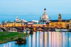 Dresden en la noche Fotografía de archivo