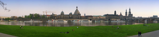Dresden at the evening. It is a view of dresden at the evening, at the border of the river Elbe royalty free stock images