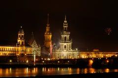 Dresden-Feuerwerke Stockfotografie