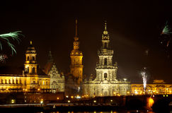 Dresden Fireworks 02. Dresden, Saxony in the night and withe fireworks Stock Photos