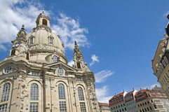Dresden Frauenkirche. The Frauenkirche in Dresden, Germany. The church was destroyed during the aerial bombing of the city on February 13-14, 1945 Stock Image