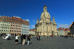 Dresden Frauenkirche. The Dresden Frauenkirche seen from the square, Germany Stock Image