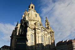 Dresden Frauenkirche (Church of Our Lady). And Martin Luther statue, Germany Royalty Free Stock Image