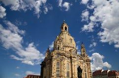 Dresden Frauenkirche (formligen kyrka av vår dam) är en Lutherankyrka i Dresden, Tyskland Royaltyfri Foto