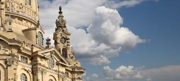 Dresden Frauenkirche (formligen kyrka av vår dam) är en Lutherankyrka i Dresden, Tyskland Fotografering för Bildbyråer