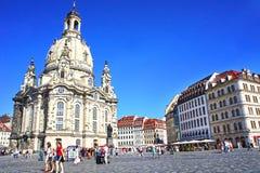 Dresden Frauenkirche (kyrkan av vår dam) - Lutherankyrka i Dresden, Sachsen, Tyskland Fotografering för Bildbyråer