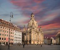 Dresden Frauenkirche (letterlijk Kerk van Onze Dame) is een Lutheran kerk in Dresden, Duitsland Royalty-vrije Stock Foto