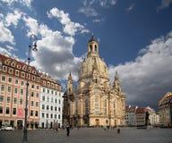 Dresden Frauenkirche (letterlijk Kerk van Onze Dame) is een Lutheran kerk in Dresden, Duitsland Stock Foto