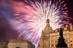 Dresden Frauenkirche  literally Church of Our Ladyand holiday fireworks-- is a Lutheran church in Dresden, Germany Stock Image