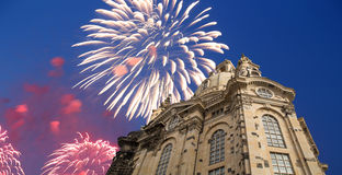 Dresden Frauenkirche  literally Church of Our Ladyand holiday fireworks-- is a Lutheran church in Dresden, Germany Royalty Free Stock Image