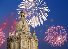 Dresden Frauenkirche  literally Church of Our Ladyand holiday fireworks-- is a Lutheran church in Dresden, Germany Royalty Free Stock Photos