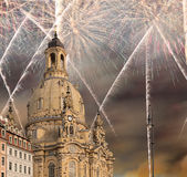 Dresden Frauenkirche  literally Church of Our Ladyand holiday fireworks-- is a Lutheran church in Dresden, Germany Royalty Free Stock Images
