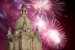 Dresden Frauenkirche  literally Church of Our Ladyand holiday fireworks-- is a Lutheran church in Dresden, Germany Royalty Free Stock Photography