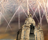 Dresden Frauenkirche  literally Church of Our Ladyand holiday fireworks-- is a Lutheran church in Dresden, Germany Royalty Free Stock Photo
