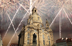 Dresden Frauenkirche  literally Church of Our Ladyand holiday fireworks-- is a Lutheran church in Dresden, Germany Stock Images