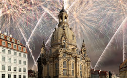 Dresden Frauenkirche  literally Church of Our Ladyand holiday fireworks-- is a Lutheran church in Dresden, Germany Stock Photo