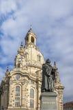 Dresden Frauenkirche, luther-Gedenkteken Stock Foto's