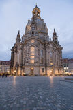 Dresden Frauenkirche. Scenic view of Dresden Frauenkirche illuminated at dusk, Saxony, Germay Royalty Free Stock Image