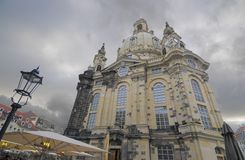 Dresden, Frauenkirche on a stormy day. Church of Our Lady (Frauenkirche) in Dresden on a stormy day Royalty Free Stock Photo