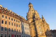 Dresden Frauenkirche at sunset Stock Photos