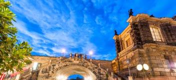 dresden German Stary miasteczko przy nocą Fotografia Royalty Free