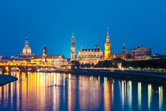 Dresden, Germany. Dresden Skyline at Night, Germany Royalty Free Stock Photography